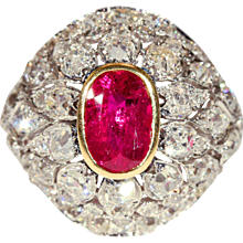 Untreated Ruby and Diamond Ring, Antique French c. 1910