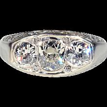 Vintage French Art Deco Diamond Engagement Ring, Unisex