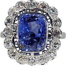 Untreated Ceylon Sapphire and Diamond French Platinum Cluster Ring