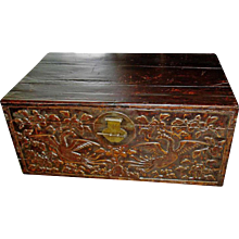 Camphor Trunk with Twin Phoenix Carvings