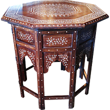 An Indian Octagonal Bone-Inlaid Table with Folding Base