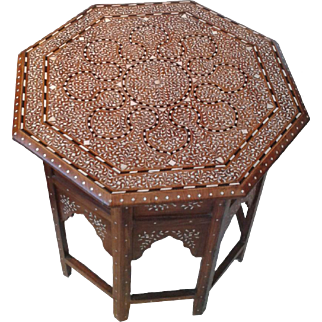 A Bone-Inlaid Octagonal Table from India