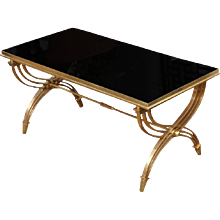 Brass & Black Glass Coffee Table