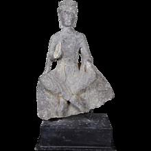 Antique Boddhisattva Statue Carved in Black Limestone