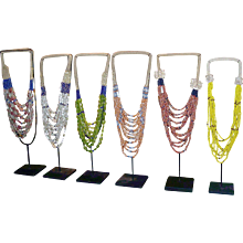 Balinese Glass Bead Necklaces on Stands