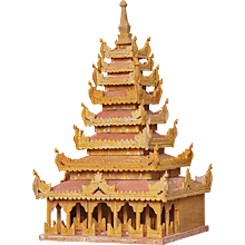 A Miniature Burmese Gold and Red-Painted Temple