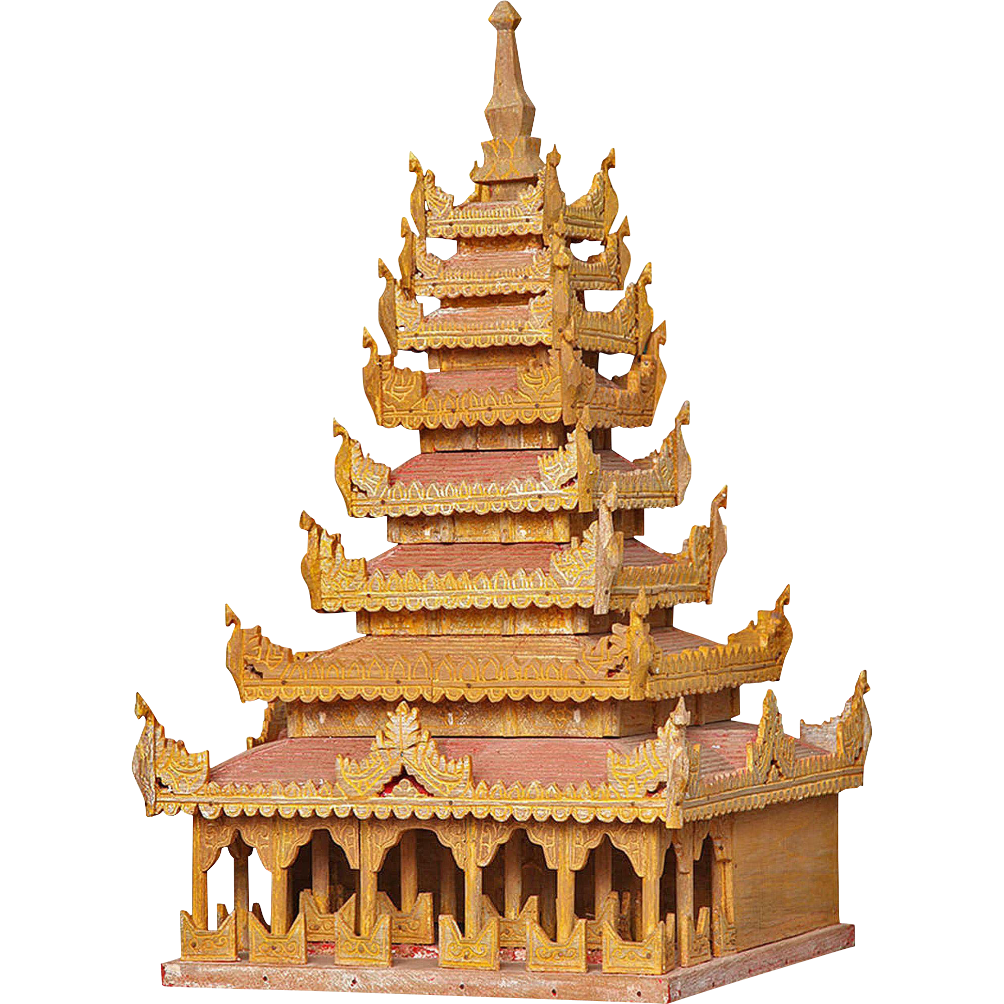 A Miniature Burmese Gold And Red Painted Temple From Vw