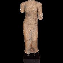 Carved Sandstone Female Torso, on stand