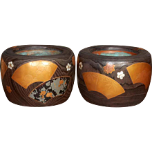 Wood Hibachis with Decorative Inlays