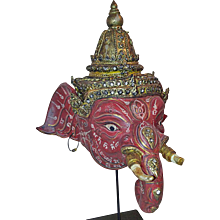 A Small Khon Dance Mask of Ganesha