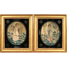 Pair of French Needlework Panels in Good Gilt and Reverse Glass Decorated Frames