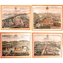 Set of Four Bird's Eye English Estate Views by Johannes Kip, 18th Century