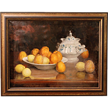 Still Life Oil on Canvas with Oranges and Lemons, Joseph Jost