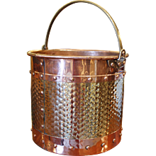 English Copper and Brass Peat or Coal Bucket
