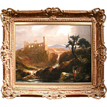"""Landscape with Sunlit Castle in Ruins"""