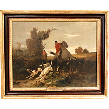 """In Full Cry"" 19th Century Fox Hunting Oil on Canvas by G. Linwall"
