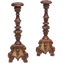 Pair of Continental Carved Prickets, 19th Century