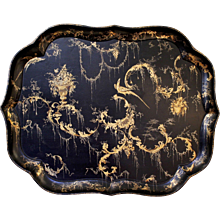 English Black Lacquered and Gilt Decorated Papier Maché Tray