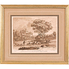 Set of Four Sepia Landscape Engravings after Claude Lorraine