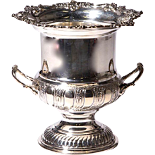 Silver on Copper Champagne Bucket with Fancy Rim