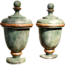 Pair of Painted and Parcel Gilt Decorative Wooden Half Urns