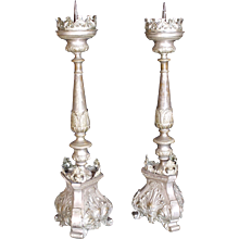 Pair Of Continental Silvered Brass Repoussé Prickets