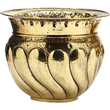 Large Brass Repousée Cachepot with Bold Gadrooning