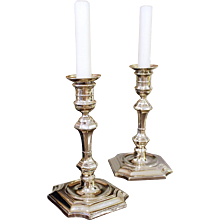 Pair of George I Style Silver Plate Candlesticks