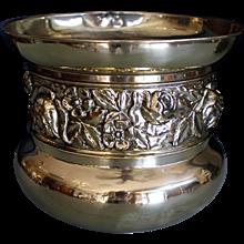 English Brass Repoussé Fern Pot