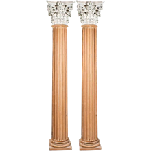 Pair of Tall Architectural Columns with Corinthian Capitals