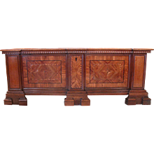 Italian Walnut and Marquetry Dowry Chest or Cassone