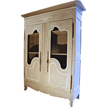 French Provincial Grey Painted Louis XV Style Small Armoire