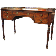 Regency Mahogany Writing Table Desk with Brass Gallery Top