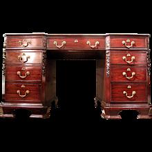 English George III Style Mahogany Pedestal Desk