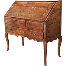 French Provincial Walnut Louis XV Style Slant Front Desk
