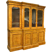 English Burl Walnut Breakfront Bookcase, 19th Century