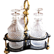 Set of Three Georgian Decanters with a Brass and Lacquer Caddy