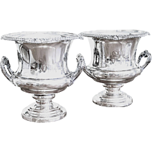 Pair of Silver on Copper Champagne Coolers