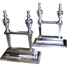 Pair of Fine George III Polished Steel Fire Dogs