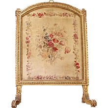 Fine Louis XVI Period Gilt Wood Fire Screen with Tapestry