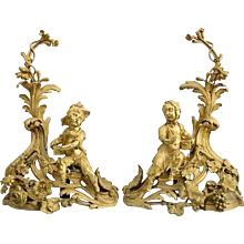 Pair of French Gilt Bronze Figural Chenets