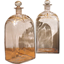 Pair of Glass Decanters with Gilt Decoration, Probably French