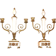 Pair of Continental Marble and Gilt Bronze Candelabra
