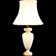 Satin Glass Parcel Gilt Lamp