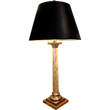 Tall Faux Marbre Painted Column Lamp