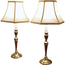 Pair of George III Brass Candlesticks Adapted into Lamps