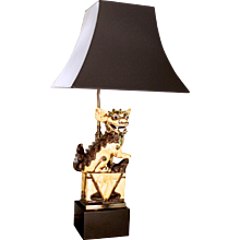 Chinese Yellow Glazed Ceramic Foo Dog Lamp