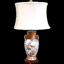 Japanese Satsuma Ware Vase Lamp