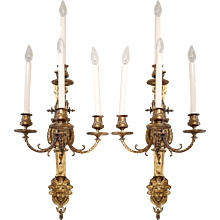 Pair of French Régence Style Gilt Bronze Sconces