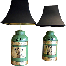 Pair of Green and Gilt Decorated Tôle Tea Canister Lamps
